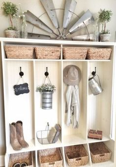 Farmhouse Friday: Mudroom – Organized and Simplified