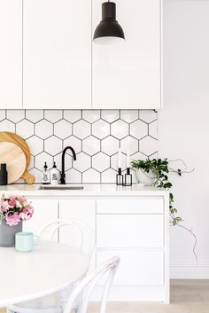 Modern Kitchen Move Over, Subway Tile: 7 Inexpensive (and Timeless) Backsplash Ideas - White subway tile backsplashes are elegant, they're classic, and. Here are seven stylish (and affordable) alternatives. Tile Backsplashes, Interior, Kitchen Decor, White Kitchen Cabinets, Home Decor, White Subway Tile Backsplash, Kitchen Tiles Backsplash, Kitchen Renovation, Timeless Kitchen