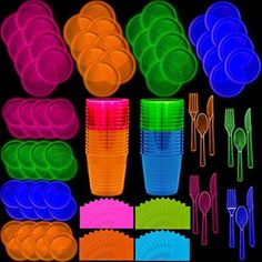 Neon Disposable Party Supplies Set 32 Guest - 2 Size Plates Tumbler Cups Napkins Cutlery Glows Under Black Light or UV - Pink Green Blue Orange For Birthday Clubs Festivals and Birthday Party For Teens, 14th Birthday, Birthday Party Decorations, Glow Party Decorations, Dance Party Birthday, Cake Birthday, Teen Birthday, Neon Party Themes, Birthday Party Ideas For Teens 13th