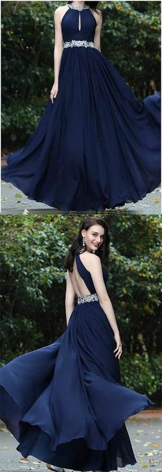 Sexy A-Line Prom Dress,Elegant Prom Dress,Beading Prom Dress,Cheap Prom Dress,2018 Royal Blue Prom Dresses,Simple Chiffon Evening Gowns,#backless#royalblue#beads#halter#chiffon#long#prom#dress#promdresslong#elegant#simple #eveninggowns