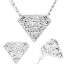 Superman Embossed Necklace Earrings Jewelry Set