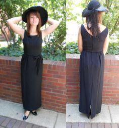 1960's LIttle Black Dress sleeveless long by ReincarnationsResale, $68.00