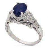 Oval Cut Antique Style Sapphire & Diamond Engagement Ring SA200