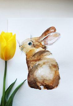 Original Watercolor Art, Easter hare art, rabbit art, easter hare, Animal watercolor, wall art, easter gift, easter art, watercolor Art OOAK by MaryArtStudio on Etsy