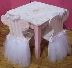 LAST set to order for Christmas 2016, Kids Table  Chairs Set, Kids Furniture, TUTU Ballerinas, Ballet, Childs Table and Chairs