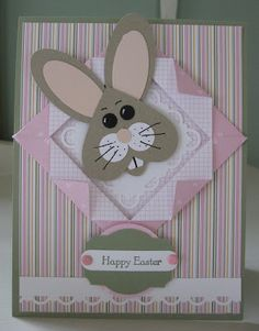 Easter card from Smiles, Laura .... adorable punch art bunny head on a fancy fold frame of double sided patterned paper ... Stampin' Up!