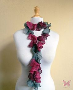 Knit Scarf  SMOKY CARMÉNÈRE Ruffled by OriginalDesignsByAR on Etsy, $15.00