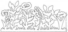 Paper cutting template. Flower garden.