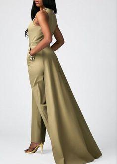 1db24405559c Overlay Embellished Split Neck Sleeveless Pocket Jumpsuit