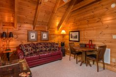 New loft furniture added May, 2016. Sleeper sofa with memory foam mattress.     Pat Kirchhoefer, owner of the cabins Escape to Times Past   #mybearfootcabins #pigeonforge #cabinlife #gatlinburg #sevierville #vacay #vacation #mountains