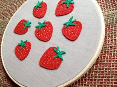Sweet Strawberries Embroidery Hoop Art Wall by KaylaHartmann, $26.00