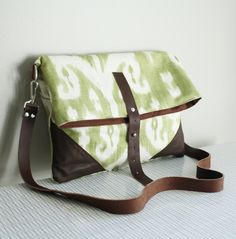 Ikat Purse Green Foldover Cross Body by piprobins on Etsy, $65.00