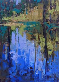 """Daily Paintworks - """"Cedar Creek, Congaree"""" - Original Fine Art for Sale - © Mary Gilkerson Abstract Landscape Painting, Landscape Art, Abstract Art, Paintings I Love, Art Paintings, Guache, Art Oil, Oil Painting On Canvas, Painting Art"""