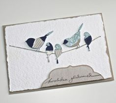"Pictures of patchwork technique in ""Technique"" board.  Memory Box die- Perched Reedbird 98160 Poppystamps die- Nestled Bird 817"