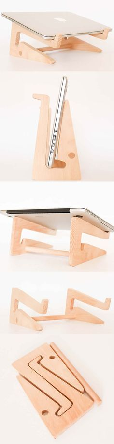Folding Wooden Desktop Stand for Tablets iPad Macbook Air or Pro. Can you make this?