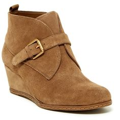 Franco Sarto Amerosa Buckle Wedge Bootie ($70) ❤ liked on Polyvore featuring shoes, boots, ankle booties, desert, suede booties, ankle boots, short boots, wedge bootie and suede ankle booties