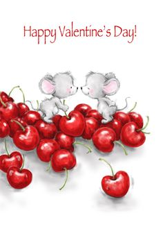 Valentines Day Cakes, Valentines Day Background, Happy Valentines Day, Happy Valentine Images, Valentine Drawing, Cute Animal Illustration, Animal Illustrations, Birthday Captions, Pet Mice