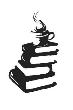Black ink book and coffee tattoo design