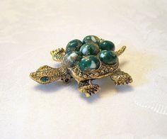 Vintage Turtle Brooch Cabochon Rhinestone Emerald by VintageStreet, $16.00