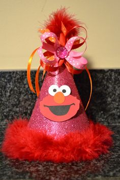 Elmo Birthday Party Hat Girl Custom by MonicaDawnDesigns on Etsy, $18.99