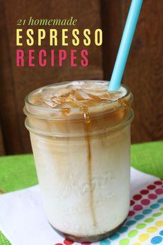 21 Homemade Espresso Recipes (hot and iced) - Frugal Living NW Expresso Recipes, Coffe Recipes, Iced Caramel Macchiato Recipe, Mocha Recipe, Espresso Drinks, Espresso Bar, Coffee Drinks, Barista Recipe, Drinks Alcohol Recipes