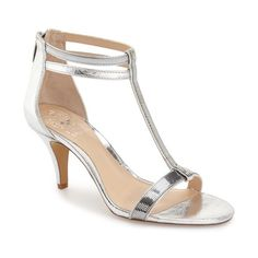 "Vince Camuto 'Makoto' T-Strap Sandal, 3"" heel ($98) ❤ liked on Polyvore featuring shoes, sandals, silver leather, leather sandals, leather shoes, t strap shoes, vince camuto and t-bar sandals"