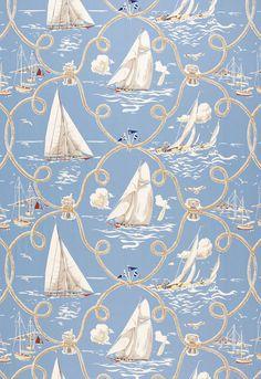 172970 Summer Regatta Water by Schumacher Fabric I Wallpaper, Designer Wallpaper, Pattern Wallpaper, Nautical Wallpaper, Textile Patterns, Textile Design, Textiles, Shape Design, Pattern Design