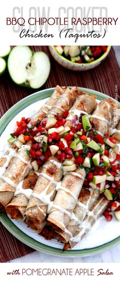 Slow Cooker Creamy BBQ Raspberry Chipotle Chicken (Taquitos with Pomegranate Apple Salsa) |