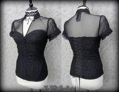 Elegant Gothic Black Lace Net High Collar Corset Top 10 Victorian Vamp Burlesque | THE WILTED ROSE GARDEN