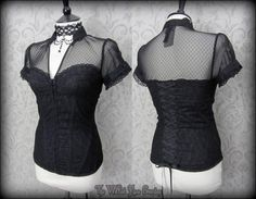 Elegant Gothic Black Lace Net High Collar Corset Top 10 Victorian Vamp Burlesque | THE WILTED ROSE GARDEN