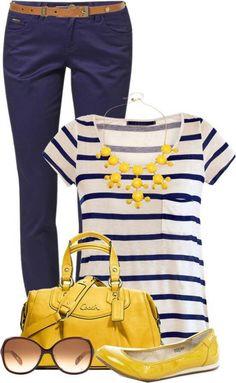 - combinação das cores amarelo e azul marinho