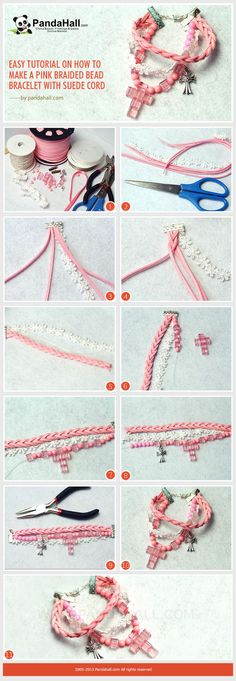 Easy Tutorial on #Howto Make a #Pink Braided Bead Bracelet with Suede Cord