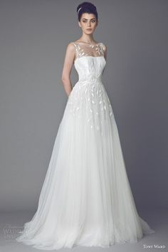 tony ward wedding dresses 2015 daisy sleeveless gown with illusion neckline