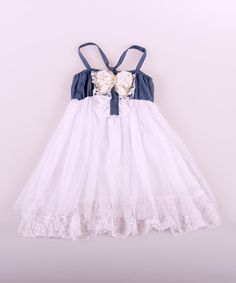 Look at this White Denim & Lace Babydoll Dress - Toddler & Girls on #zulily today!