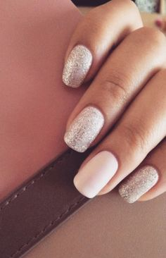 soft pink and gold nails