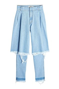 Would You Wear This Bold New Denim Style? #refinery29  http://www.refinery29.com/ksenia-schnaider-demi-denim-jeans-trend#slide-1  Ksenia Schnaider Distressed Jeans, $369, available at Stylebop....