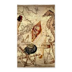 seashells nautical map vintage anchor 3x5' Area R on CafePress.com