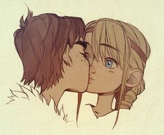 Hiccup kissing Astrid