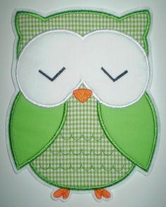 große schlafende Eule in grün - Aufnäher - Applikation