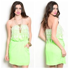 NEW Neon Strapless Dress - Small Medium Large Soooo adorable and perfect for the Summer!! This strapless dress is neon green with a white lace overlay at the bust and stretchy waist. AND side pockets!! It's a great quality and fully lined. Available in a Small, Medium & Large. Fashion Blvd Dresses Strapless