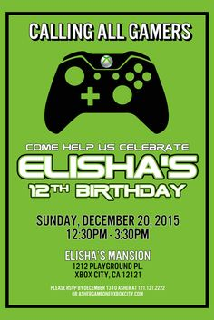 Video Game Birthday Invitation Set Of By Polkaprints On Etsy - Birthday invitation video