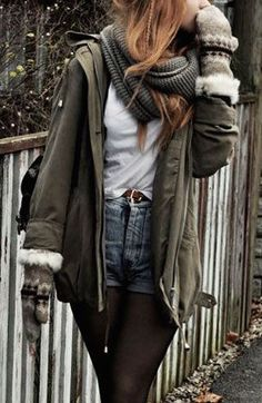 #winter #fashion / military green jacket + scarf