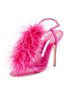 Manolo Blahnik Eila Feather T-Strap 105mm Sandal