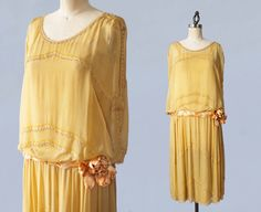 1920s Dress / 20s Yellow BEADED Flapper Dress / Satin 3D Flower / Braided Belt