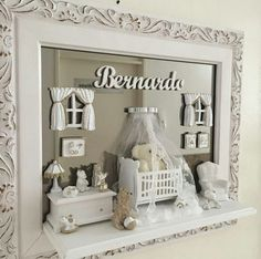 Vitrine Miniature, Miniature Rooms, Doll Furniture, Dollhouse Furniture, Clay Art For Kids, Baby Dekor, Box Picture Frames, Baby Gift Hampers, Nursery Decor