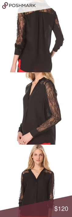 NWT Jeunesse Lili Henley with Lace L Brand new . V-neck Blouse, 3 Button closure. Fabric : silk georgette/ made . Shell 100% silk. Jeunesse  Tops
