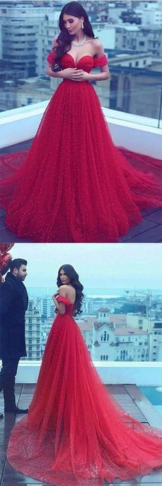 Charming A-Line Off-the-Shoulder Court Train Red Tulle Prom Dress #red #loffshoulder #long #long #evening #party #prom #okdresses #longpromdresses
