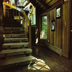 intriguing wooden cottage... these stairs are awesome