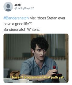 On 27 December Netflix released a trailer for Bandersnatch. After that it goes viral on internet. Give a quick look of fresh collection of Bandersnatch memes Netflix Releases, Shows On Netflix, Movies And Tv Shows, Funny Pictures With Captions, Picture Captions, Funny Photos, Fionn Whitehead, Shut Up And Dance, Funny Memes