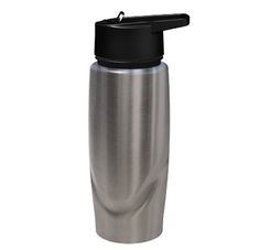 Peak Stainless Steel Sports Bottle features an in-built straw, black lid, stainless steel with sleek design and large area for your printed promotional branding, message or logo customised onto the promotional product in prime viewing position maximising visual advertising potential
